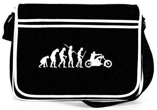 Shirtstreet24, Evolution Chopper, Biker Motorcycle Retro Borsa A Tracolla Messenger Tracolla Nera