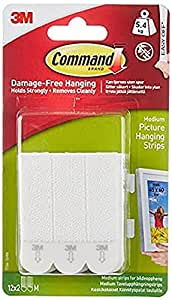 Command Medium Picture Hanging Self Adhesive Strip, 4 Pairs, Damage-Free Hanging, Holds Strongly upto 5.4kg, White