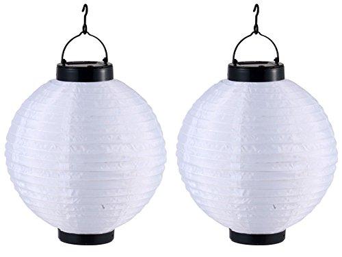 2er Set LED Solarleuchten Lampion weiß, Gartenlampen zum Aufhängen Ø 25,5cm, Globo Lighting