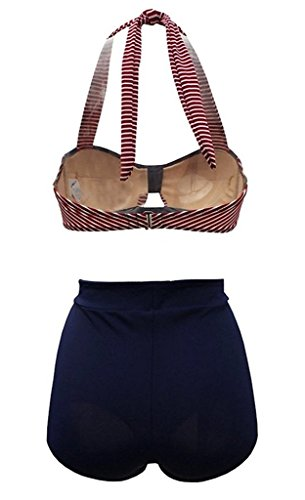 SISSIJOE Damen Bunt Retro PinUp Vintage Bikini mit hoher Taille Bademode Badeanzug Streifen Rot X-Large -