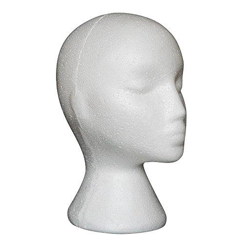 Prochive Modellkopf, weiblich, aus Schaumstoff, Styroporkopf, Brillenständer (weiß, 1 Stück)