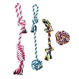 Juego de 4juguetes para perros Cuerda con nudos juguete pelota en hilos de algodón juguetes de mascar color Random