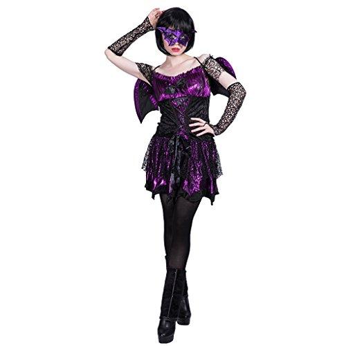 EraSpooky Damen Gotisch Fledermaus Kostüm Sexy Teufel Faschingskostüme Cosplay Halloween Party Karneval Fastnacht Kleid für Erwachsene (Glovelettes Kostüm)