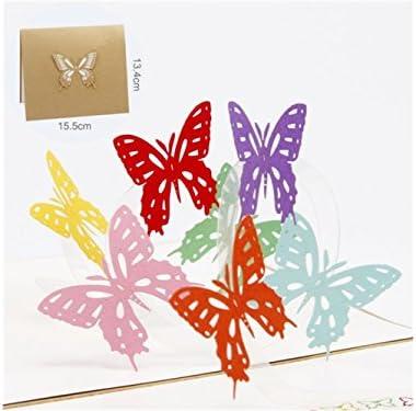 BaBaSM Portable Carte de voeux 3D Pop Pop Pop Up Design de papillon coloré Carte fait main Carte de voeux Best Wish Card (or) | Exquis  30b0af