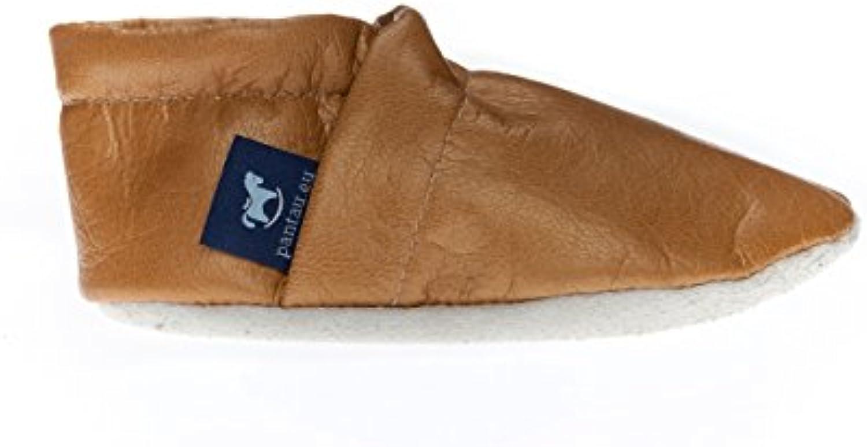 pantau Lederpuschen Leder Hauschuhe Puschen Pantoffeln Schluffen Patschen Schlappen in Unifarben, Damen und Herrenö