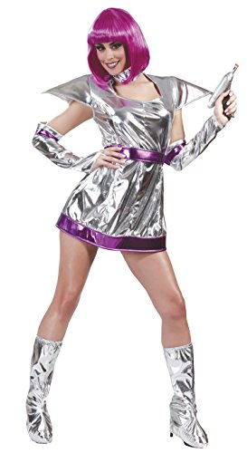 Space Girl Karneval Motto Party Kostüm für Damen Weltraum All Silber Gr. M - L, ()