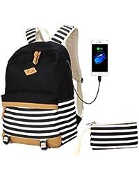 Preisvergleich für Laptop Rucksack,Frauen Daypack Reisetasche Mädchen Schule Leinwand Rucksack Bleistift Tasche mit USB-Ladeanschluss...