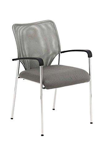 CLP Konferenzstuhl CUBA mit Stoffbezug und hochwertigem Sitzpolster | Besucherstuhl mit Armlehne und Metallgestell Grau - 2