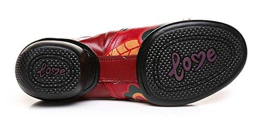 SHIXR National Wind Chaussures Femmes Chaussures En Cuir Chaussures De Jazz Terrain De Sport Chaussures Saisons Mères Chaussures De Sport rouge