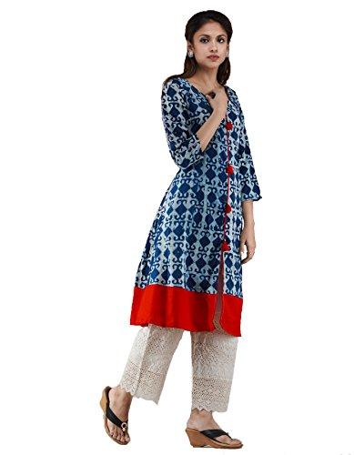 Unnati Silks Women Sloka Weaves Indigo-red Pure Jaipuri Printed Cotton Kurta With Tassels