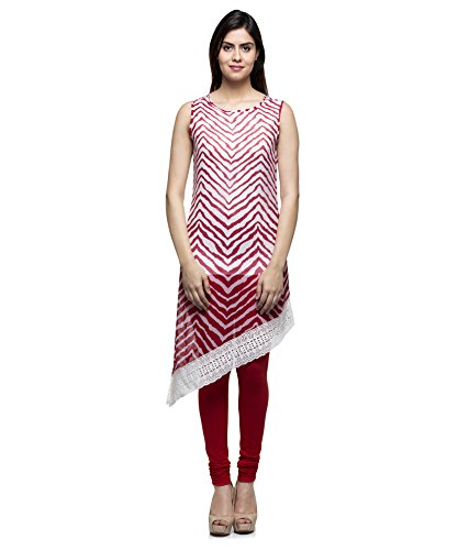 Laabha Women Siffon Red Printed Fancy Designer With Lace Kurti ( Small )