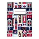8 Trendige London DIN A5 Schulhefte, Schreibhefte mit englischen Symbolen auf hellblau Lineatur 4 (liniertes Heft)