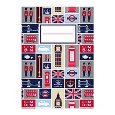 Kartenkaufrausch 1 Trendiges London DIN A4 Schulheft, Schreibhefte mit englischen Symbolen auf hellblau Lineatur 20 (blanko Heft)