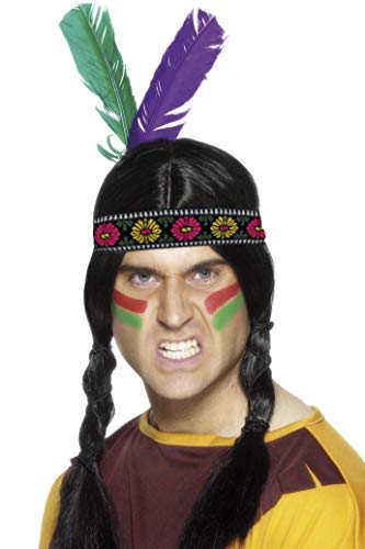 India-22291 Cinta de Cabeza con Plumas Inspirado por los Americanos nativos, Multi-Color, co, Multicolor, Tamaño único (Smiffy'S 22291)