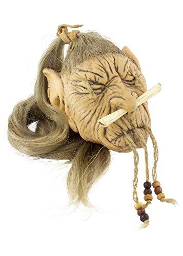 Elfen-Schrumpfkopf aus Latex LARP-Trophäe Fantasy Schädel Kopf