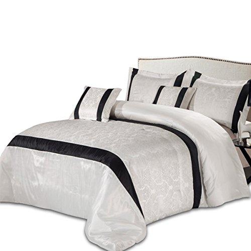 Sunrise - set di biancheria da letto con copriletto, 3 pezzi, include federe (bianco, matrimoniale 220 x 240)