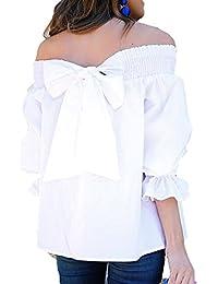 Juleya Blusa Mujer sin Hombro Camisas de Manga Larga Mujeres Tops de Volantes con Mariposa Blusas
