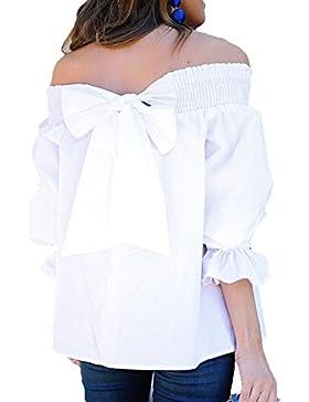 Juleya Blusa Mujer Sin Hombro Camisas de Manga Larga Mujeres Tops de Volantes con Mariposa Blusas Color Sólido...