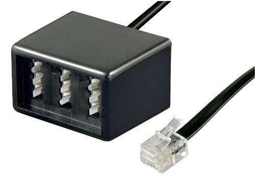 Wentronic Telefon Adapter (RJ11 Stecker auf TAE Buchsen NFF) schwarz (Telefon-buchsen)