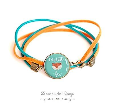 bracelet cabochon en verre, Cuir bleu turquoise et suédine orange, Mon petit Renard, My little Fox
