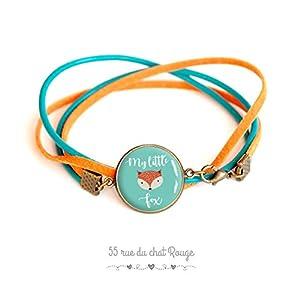 Glas Cabochon Armband, türkisfarbenes Leder und orange Wildleder, mein kleiner Fuchs, mein kleiner Fuchs