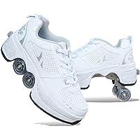 ZSPSHOP Patín En Línea Zapatos Multiusos 2 En 1 Botas Ajustables para Patines De Cuatro Ruedas Blanco,42