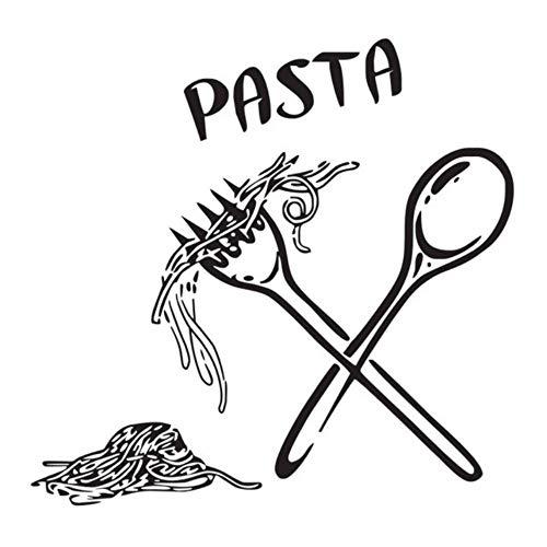 Dekorative Fliesen-wand-dekor (Ysain Pasta Wandaufkleber Lebensmittel Mahlzeit Löffel Gabel Aufkleber Wandtattoo Cafe Küche Fliesen Wand Dekorative Wand-Dekor 44 * 44 Cm)