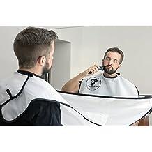 Grembiule/telo/mantellina per rasatura/rifilatura barba - Raccogli peli - Regalo da uomo - bianco
