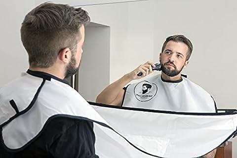 Cape à barbe originale, bavoir à barbe, tablier ramasse-poils, blanc,