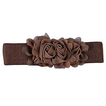 New Women's Fashion Flower Elastic Stretch Waist Belt Wide Stretch Waistbands (Brown)