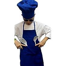 Chefskin delantal y gorro chef de alta calidad, luz, COOL, suave, bonito color azul, poliéster, azul, SM (3-8 Year olds)