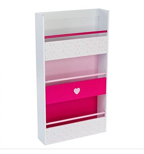 Bibliothèque en bois pour enfants - Motif cœur - Coloris ROSE et BLANC