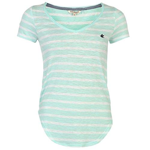SoulCal Donna Yarn Dye T Shirt A Righe Manica Corta Scollo A V Maglietta Bianco/Menta