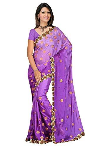 Light purple Zari work plain shimmer saree