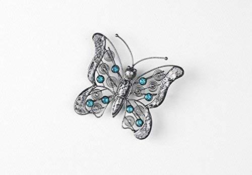 Linoows Petit Papillon dans Campagne Style, Décoration Murale en Fer Turquoise Pierres