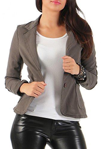 Damen Blazer Vintage Style, mit Taschen (545), Farbe:Dunkelbraun, Blazer 1:36 / S