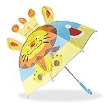 Relaxdays 10022286_764 Ombrello per Bambini con Leone 3D, Parapioggia per Bimba Bimbo, Bastone Ombrellino Piccolo da 3 anni