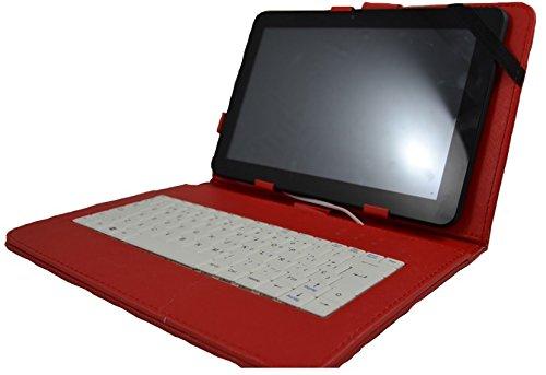 """Funda con teclado para Tablet Unusual 10W 10.1"""" - ROJO (teclado Blanco)"""