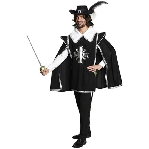 PARTY DISCOUNT NEU Herren-Kostüm Musketier Überwurf, schwarz Gr. 50-52