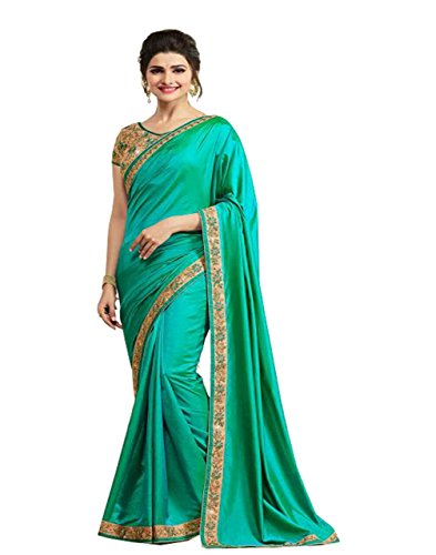 Bigben Textile Women's Paper Silk Saree With Blouse Piece(Bigben_Green_Free Size)