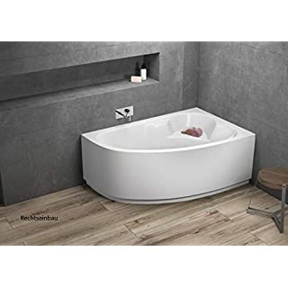 Aqualuxbad Badewanne   Wannen 140 x 80 cm Links inkl. Wannenfuß und Ablaufgarnitur, Schürze:mit Schürze