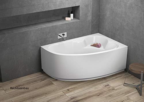 Aqualuxbad Badewanne | Wannen 140 x 80 cm Rechts inkl. Wannenfuß und Ablaufgarnitur, Schürze:mit Schürze