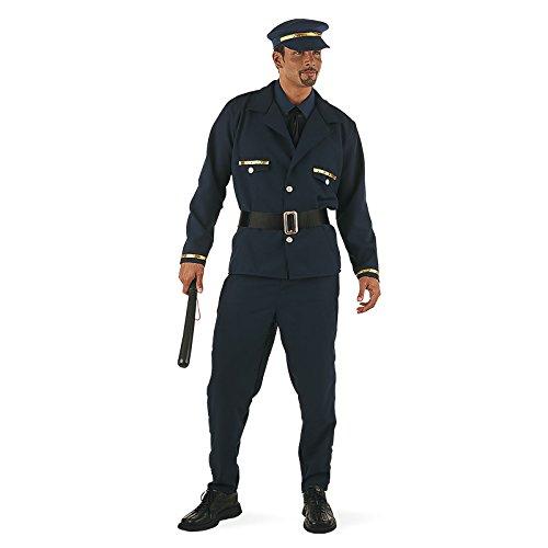 Striptease Polizist Party Fun Kostüm Herren 2 in1 Kostüm 7-tlg. Hemd Hose lang Hose kurz Kappe Gürtel Jacke Halskrause Krawatte - XL