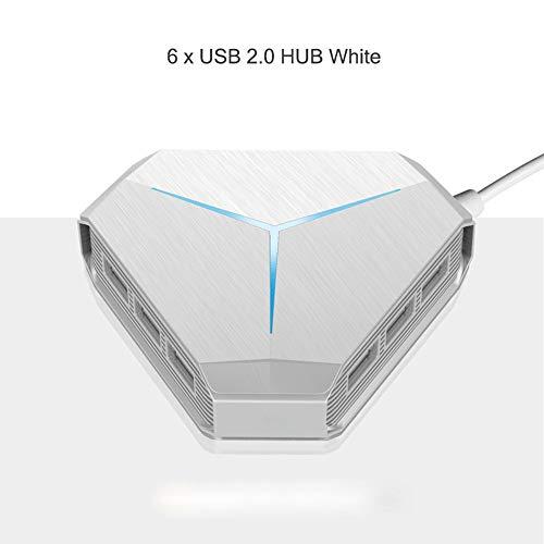 Color Card Drucker Usb (Oxlt-z USB-Hub mit 6 Anschlüssen, Hochgeschwindigkeits-USB-Soundkarte mit 1: 6-Expander-Kartenleser für Desktop-Laptops mit Mehreren Geräten (Color : White, Size : USB2.0+6 Interface+Card))
