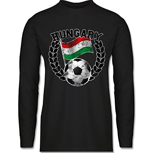 Shirtracer Fußball - Hungary Flagge & Fußball Vintage - Herren Langarmshirt Schwarz