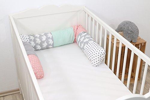 ULLENBOOM ® Bettschlange, Nestchenschlange Elefant Mint Rosa (Baby Bettrolle 160x13 cm, Babybett Kantenschutz, Lagerungskissen, Motiv: Sterne)