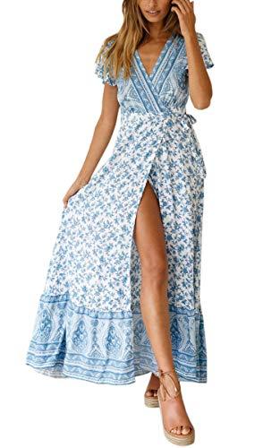 ECOWISH Damen Kleider Boho Sommerkleid V-Ausschnitt Maxikleid