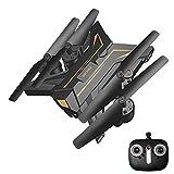 E-KIA Mini Drohne Mit Kamera Luftaufnahmen,Live-Video Und GPS-Empfang Mit Einstellbarer Weitwinkel-1080p HD WiFi-Kamera,Black-Gold,No-Camera