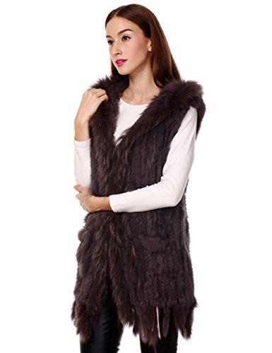 Ferand - Gilet Giacca Lunga Con Cappuccio Elegante In Vera Pelliccia di Coniglio con Collare In Pelliccia di Procione per Inverno - Donna marrone con nappe