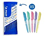Pilot - Lot de 5 Surligneurs Fluo FriXion Light Soft - Surligneur Effaçable - Bleu, Vert, Rose, Violet, Jaune - Pointe Moyenne